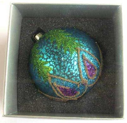 Украшение елочное шар ПАВЛИН, голубой с фиолетовым, 1 шт., 8 см, стекло украшение елочное шар павлин серебряный с оранжевым 1 шт 8 см стекло