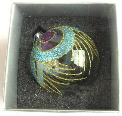 Украшение елочное шар ПАВЛИН, прозрачный, голубой с фиолетовым, 1 шт., 8 см, стекло украшение елочное шар павлин серебряный с оранжевым 1 шт 8 см стекло