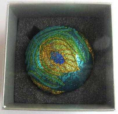 Украшение елочное шар ПАВЛИН, голубой с желтым, 1 шт., 8 см, стекло украшение елочное шар павлин серебряный с оранжевым 1 шт 8 см стекло