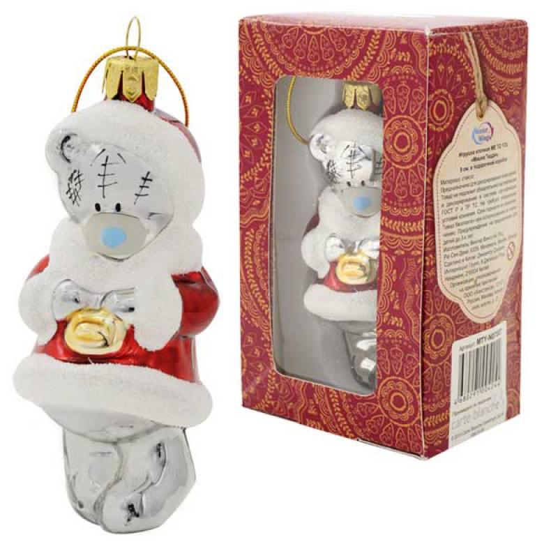 Игрушка елочная Me to you Мишка Тедди, стекло, 9см, в подар.кор. футболка для беременных printio мишка me to you