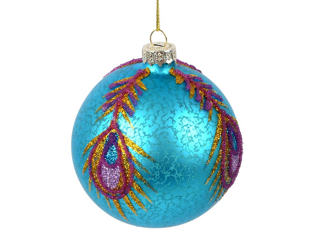 Украшение елочное шар ПАВЛИН, голубой с пером, 1 шт., 8 см, стекло украшение елочное шар павлин серебряный с оранжевым 1 шт 8 см стекло