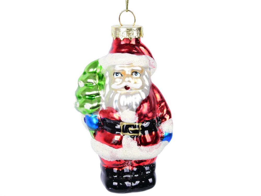 Елочные украшения Winter Wings Дед Мороз с Елкой 9 см 1 шт разноцветный стекло
