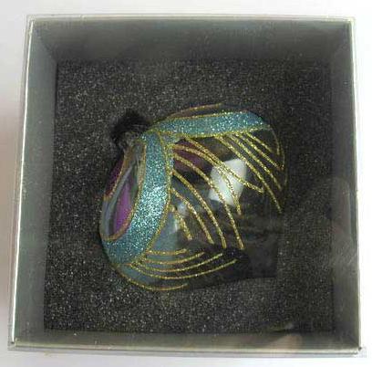 Украшение елочное шар ЛУКОВИЦА ПАВЛИН, прозрачный, голубой с фиолетовым, 1 шт., 8 см, стекло украшение елочное шар павлин серебряный с оранжевым 1 шт 8 см стекло