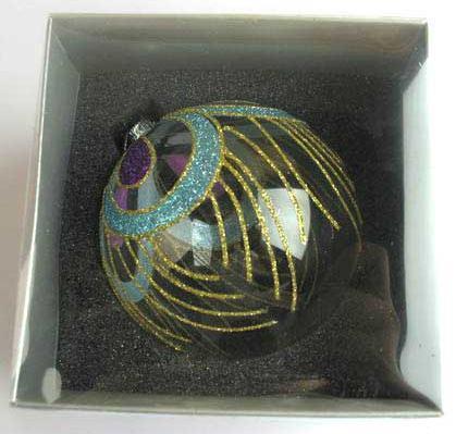 Украшение елочное шар ПАВЛИН, прозрачный, голубой с розовым, 1 шт., 10 см, стекло украшение елочное шар павлин голубой с желтым 1 шт 8 см стекло
