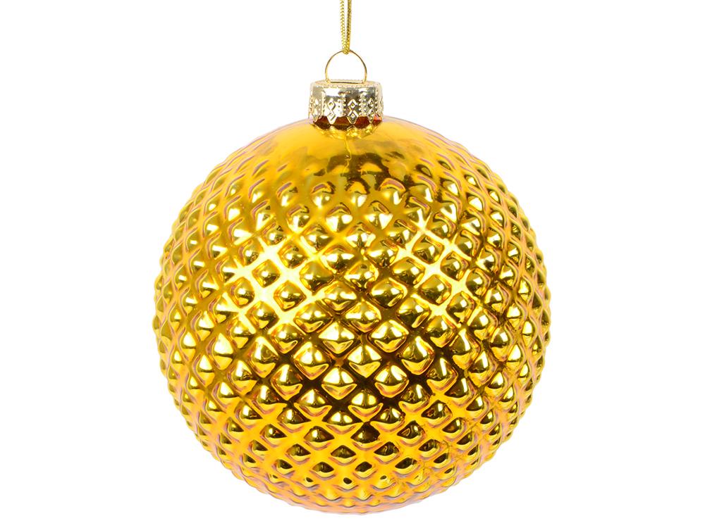 Украшение елочное шар ПАВЛИН, с тиснением, золотой, 1 шт., 8 см, стекло шар aramith premier pool 8 57 2мм