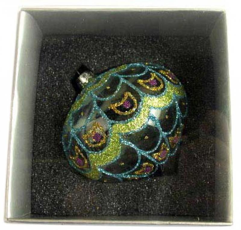 Украшение елочное шар ЛУКОВИЦА ПАВЛИН, ажурный, прозрачный, 1 шт., 8 см, стекло цена и фото
