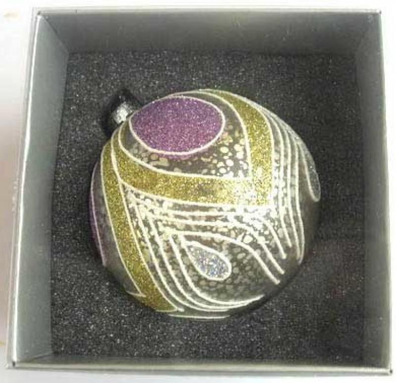 Украшение елочное шар ПАВЛИН, серебряный с сиреневым, 1 шт., 8 см, стекло украшение елочное шар павлин серебряный с оранжевым 1 шт 8 см стекло