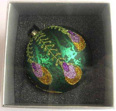 Украшение елочное шар ПАВЛИН, бирюзовый, 1 шт., 8 см, стекло