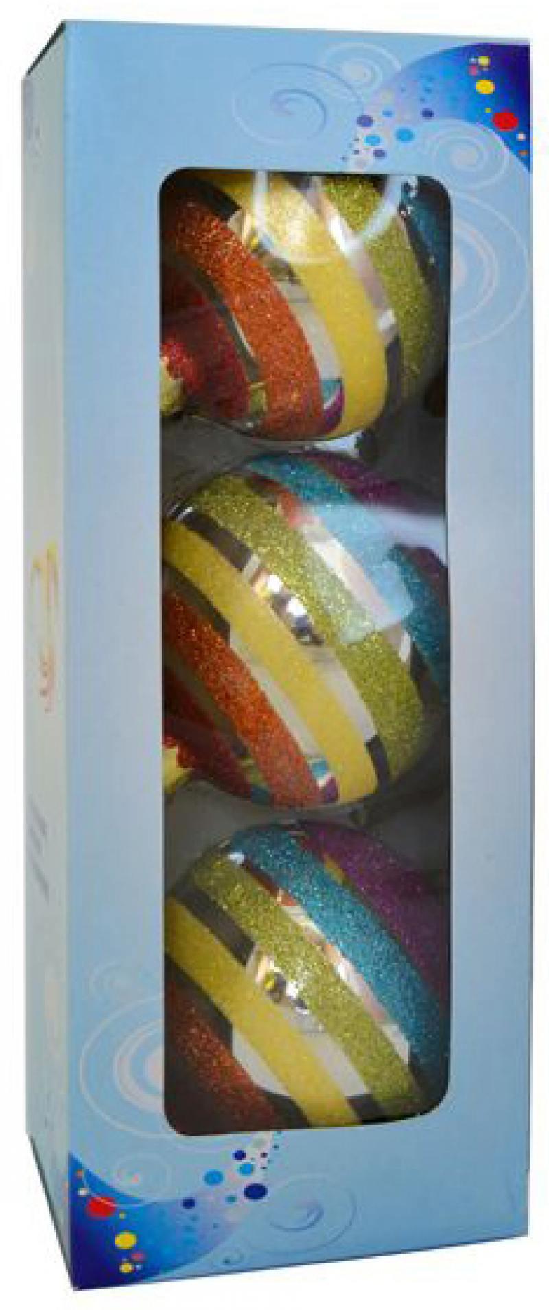 Набор украшений елочных шар радуга с блестящ.крошкой, 3 шт, 8 см, в карт.кор, стекло