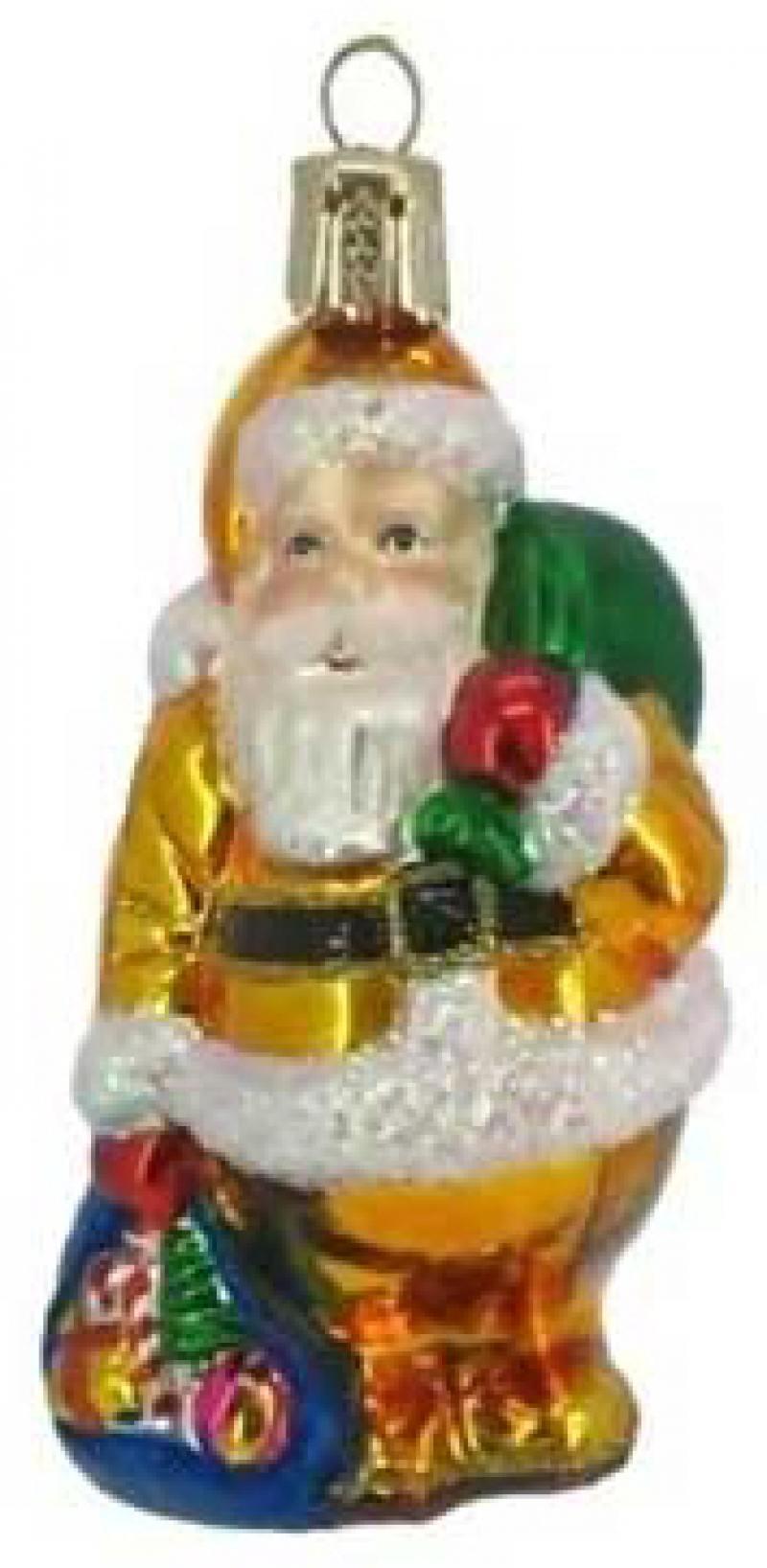 все цены на ДЕД МОРОЗ с мешком подарков, стеклянный, 1 шт., 8 см онлайн