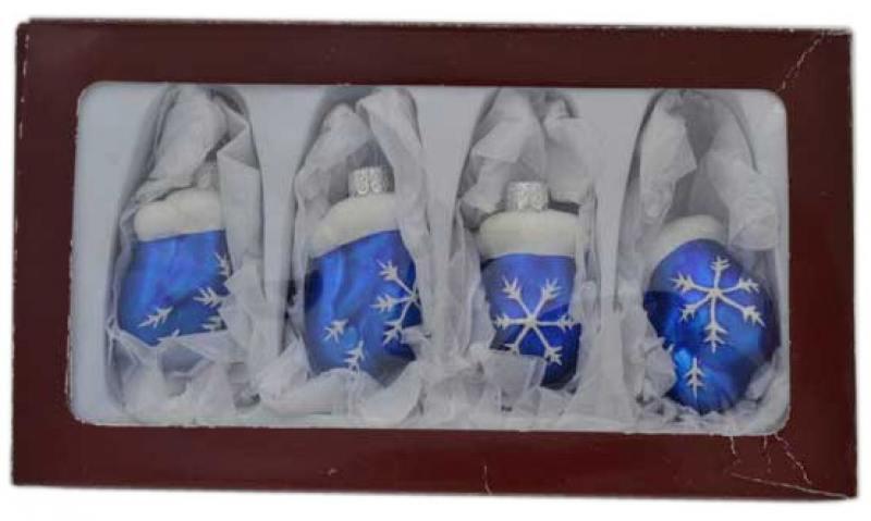 Набор елочных украшений ВАРЕЖКИ, 5,5 см, стекло,2 цвета, 4 шт в карт.кор набор украшений елочных 8 см 6 шт в коробке стекло