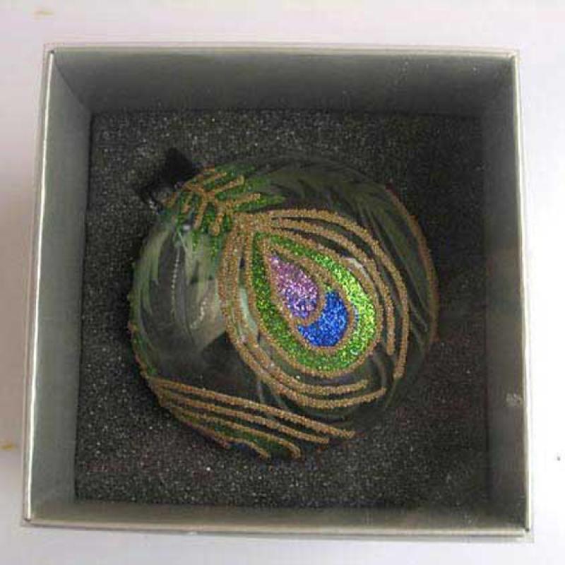 Украшение елочное шар ПАВЛИН, прозрачный, фиолетово-зеленый, 1 шт., 8 см, стекло премьер игрушка елочное украшение верхушка grande пика 1 шар 25см 1шт красный зеленый