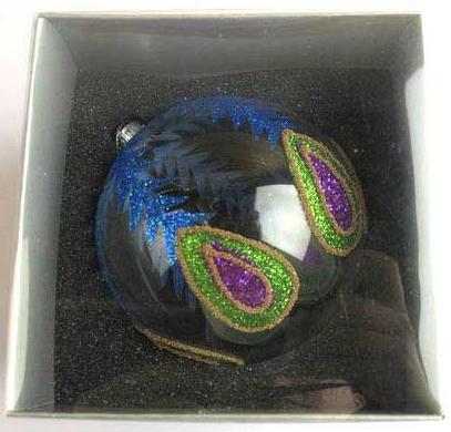 Украшение елочное шар ПАВЛИН, прозрачный, зеленый с фиолетовым, 1 шт., 10 см, стекло украшение елочное башмачок 1 шт 10 см стекло
