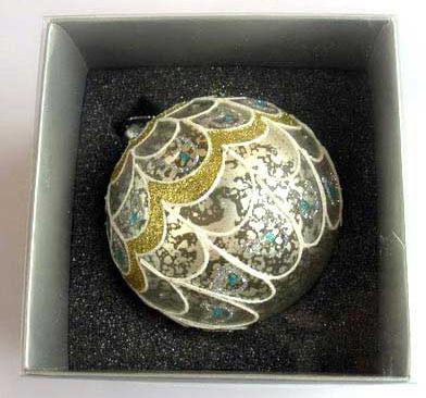 Украшение елочное шар ПАВЛИН, паутинка серебряная, 1 шт., 8 см, стекло украшение елочное шар павлин серебряный с оранжевым 1 шт 8 см стекло