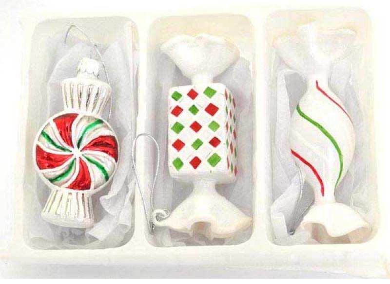Набор елочных украшений КОНФЕТКИ,10 см,стекло 3 шт в карт.кор костюм снегурочки конфетки 40 44