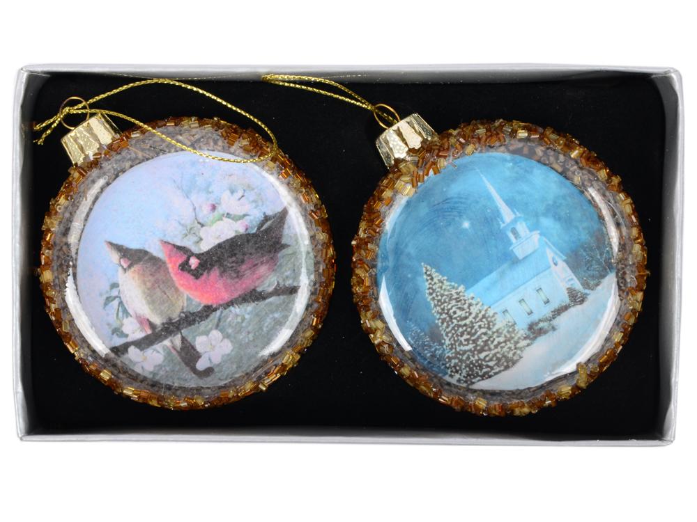 Набор украшений елочных ДИСК ОТКРЫТКИ с бисером , 2 шт, 8 см, в карт.кор, стекло. набор украшений елочных 8 см 6 шт в коробке стекло