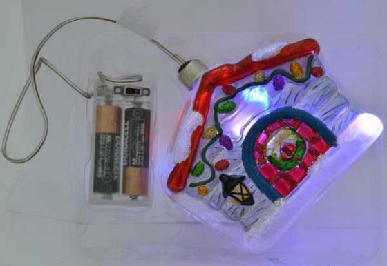 Украшение елочное ДОМИК с LED, 1 шт, 10 см, в карт.кор, стекло украшение елочное башмачок 1 шт 10 см стекло