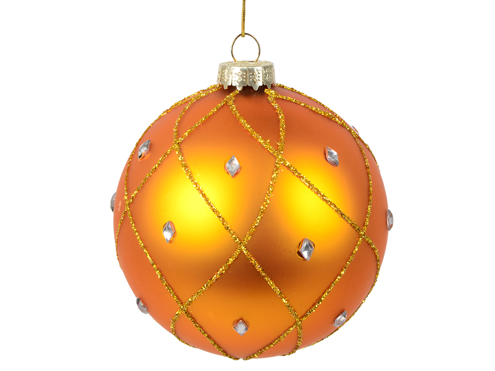 Украшение елочное шар ПАВЛИН, матовый со стразами, золотой, 1 шт., 8 см,стекло abs 1 75 3d 395m