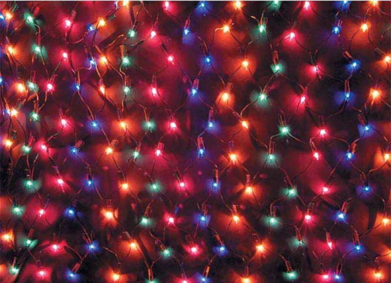 Гирлянда электрическая сетка, 200 ламп, разноцветные, 3,8 м, 10 рядов по 20 ламп гирлянда электрическая гирляндус пудинг из ниток led от батареек 20 ламп 3 м