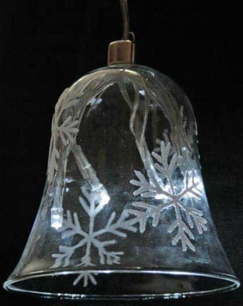 Светильник декоративный КОЛОКОЛЬЧИК 95мм голубой в крапинку, с LED лампами, на батарейках
