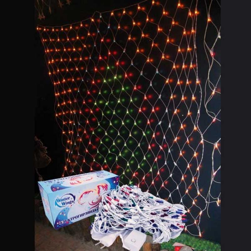 Гирлянда электрическая сетка ЕЛКА, 1,4 x 1,6 м, 276 ламп, цветная, с контроллером гирлянда электрическая vegas занавес с контроллером 156 ламп длина 1 5 м свет красный 55080