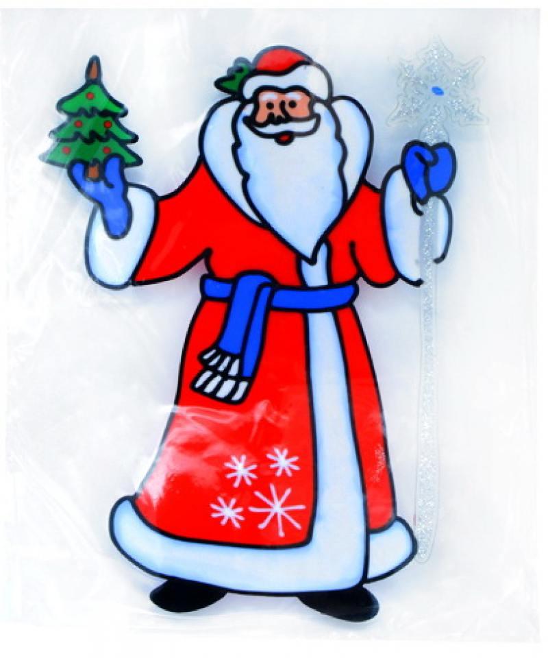 Наклейка декоративная на стекло ДЕД МОРОЗ, 25*33 см, ПВХ украшение новогоднее оконное magic time дед мороз с самоваром двустороннее 30 х 32 см