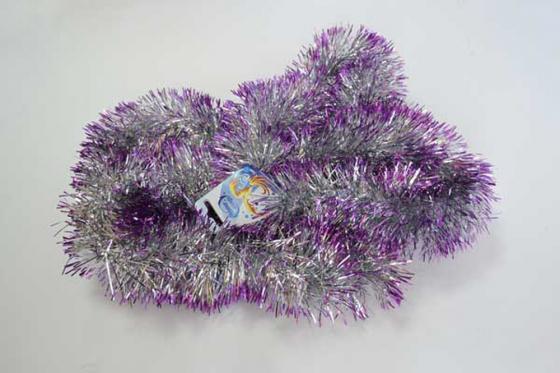 Мишура двухцветная, серебряно- фиолетовая, блестящая, 100 мм, длина 2 м