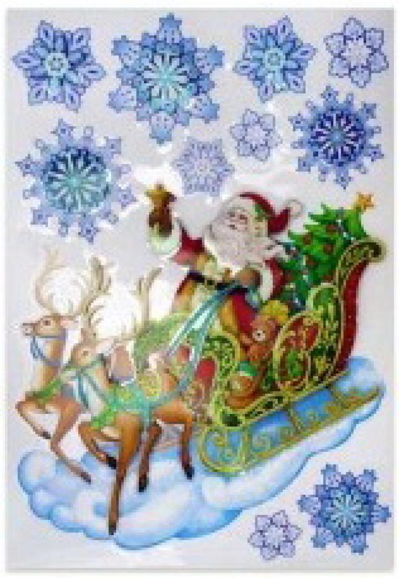 Наклейка панно декоративная ДЕД МОРОЗ, с блестящей крошкой, 49*30 см, ПВХ наклейки панно дед мороз прозрачные цветные голограмма набор 4 шт 32х18 см