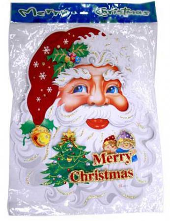 Панно ДЕД МОРОЗ В ШУБЕ, 50х86,5 см, набор 2 шт., картон наклейки панно дед мороз прозрачные цветные голограмма набор 4 шт 32х18 см