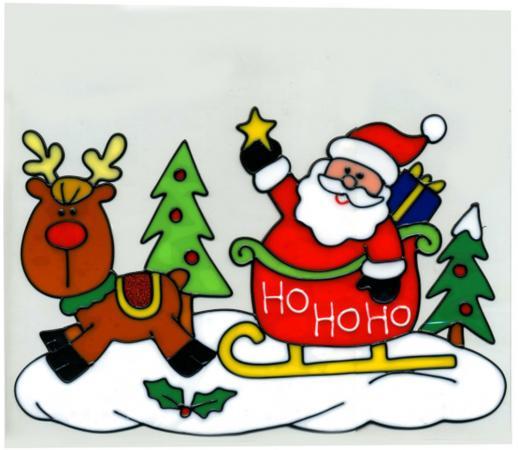 Наклейка-панно декоративная на стекло, САНТА, гелевая, 1 шт. в пакете, 20х25 см наклейка winter wings панно гелевая новый год 20х20 см n09302