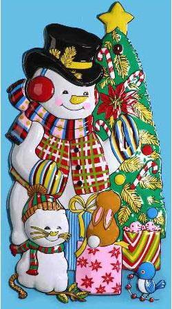 Панно СНЕГОВИК С ЕЛКОЙ, 80х43 см, ПВХ новогоднее панно winter wings снеговик с ёлкой 80х43 см n09136