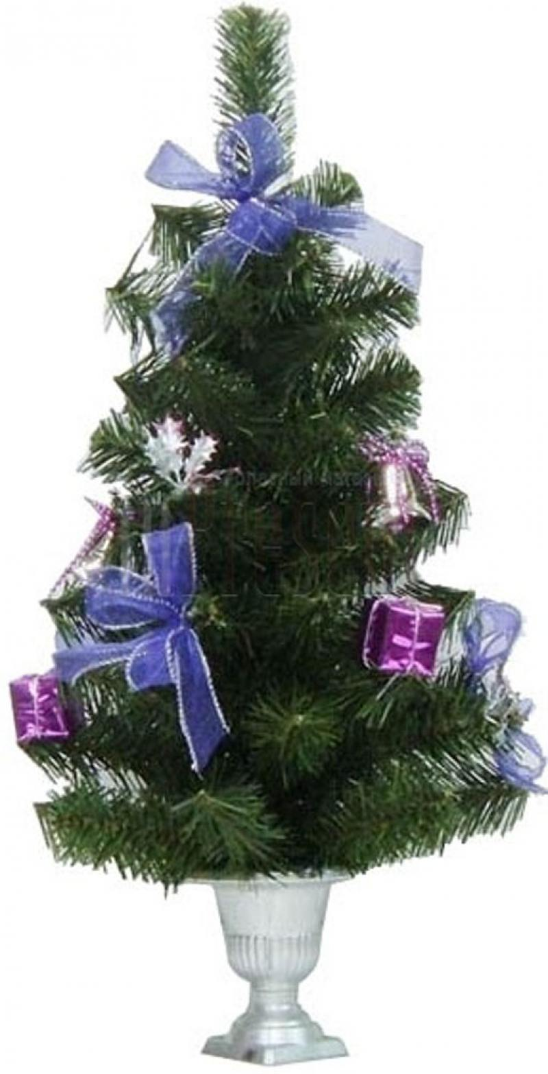 Елка декоративная украшенная, с фиолетовыми украшениями украшениями, 51 см елка декоративная трехцветная украшенная 50 см 3 цв в асс пвх в пакете