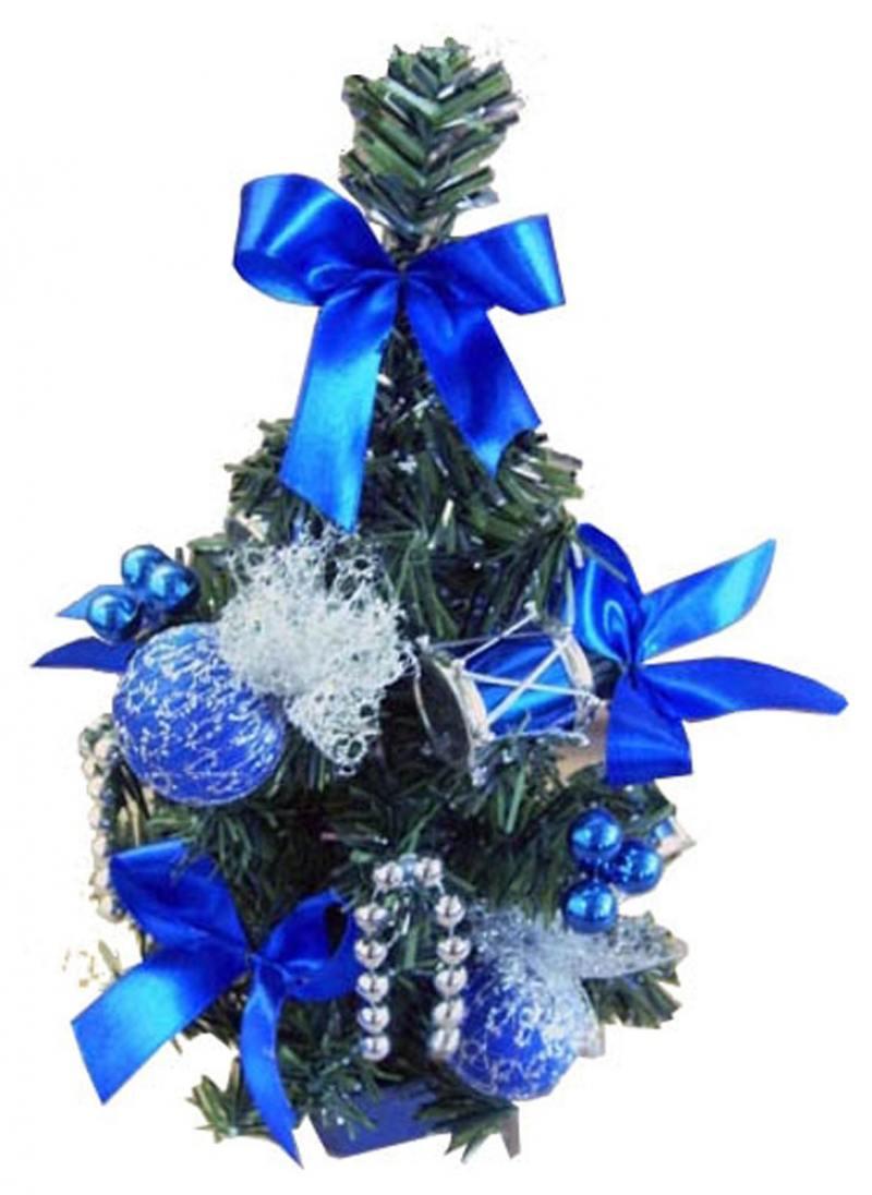 Елка декоративная украшенная, с синими украшениями, 30 см елка декоративная трехцветная украшенная 50 см 3 цв в асс пвх в пакете