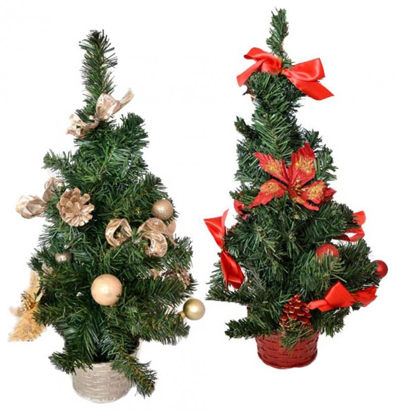 Елка декоративная украшенная, 50 см, ПВХ елка декоративная трехцветная украшенная 50 см 3 цв в асс пвх в пакете