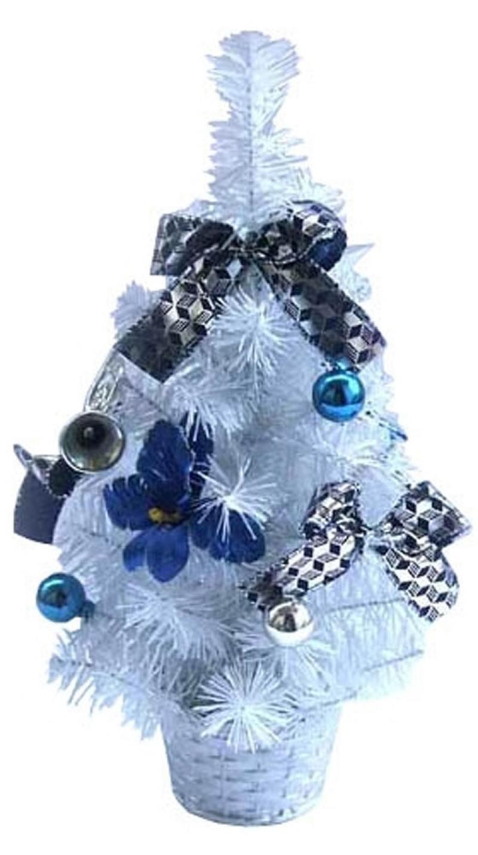Елка декоративная украшенная,белая, в горшочке, 30 см, 2 вида елка декоративная трехцветная украшенная 50 см 3 цв в асс пвх в пакете