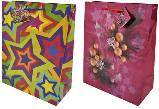 Пакеты подарочные бумажные ламинированные, 260x324x127 мм, с лазерной печатью, 5 вида