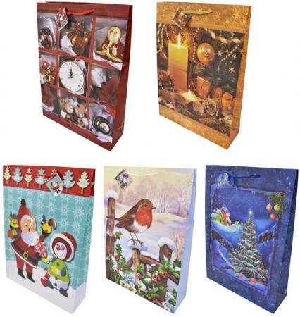 Пакеты подарочные бумажные ламинированные, 330x460x102 мм.,5 видов
