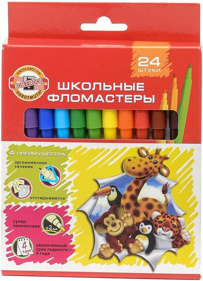 Набор фломастеров Koh-i-Noor Веселые животные 1 мм 24 шт разноцветный 1002/24 KS 1002/24 KS кр веселые животные вып 1 остров невидимок