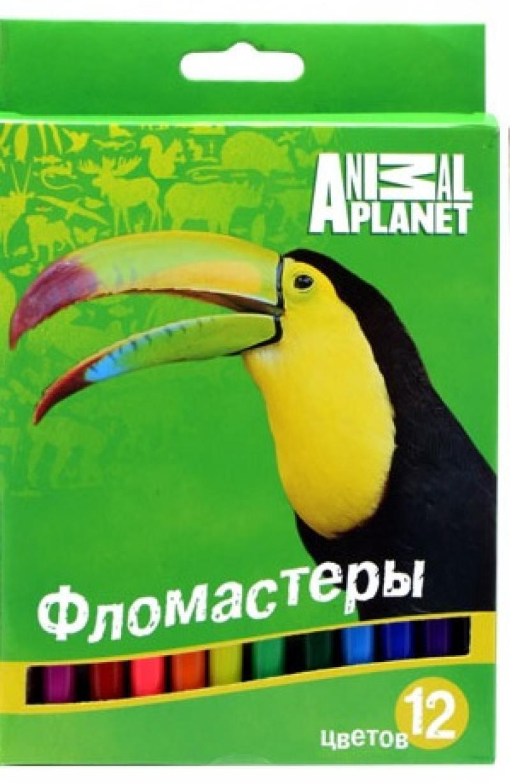 Набор фломастеров Action! ANIMAL PLANET 12 шт разноцветный AP-AWP105-12 AP-AWP105-12 ластик action animal planet 1 шт круглый ap aer115 в ассортименте ap aer115