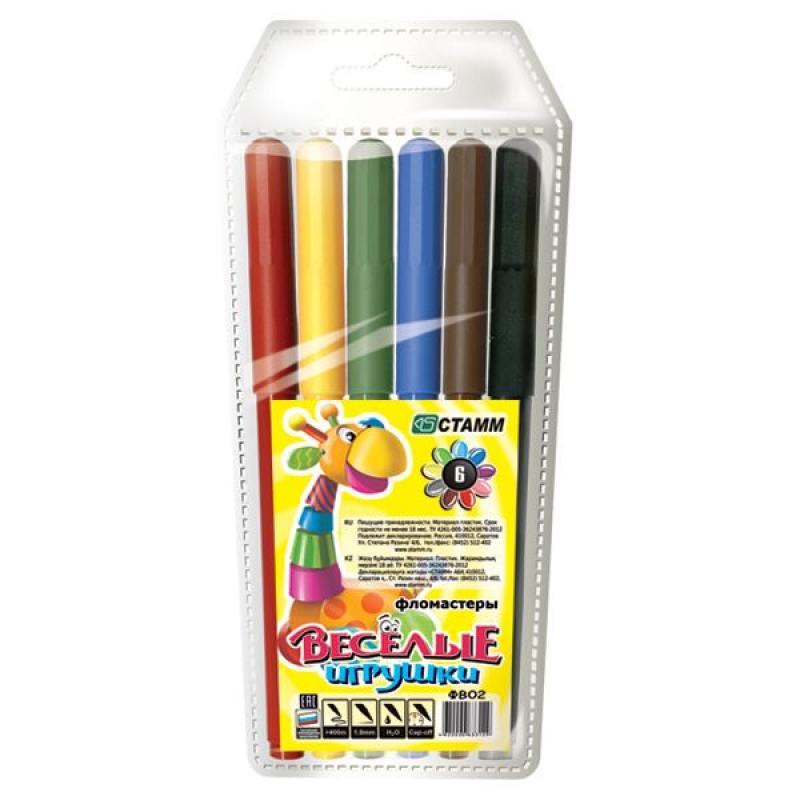 Набор фломастеров СТАММ ВЕСЕЛЫЕ ИГРУШКИ 1 мм 6 шт разноцветный ФВ02 набор фломастеров стамм карапуз 3 мм 6 шт разноцветный ф301 ф301