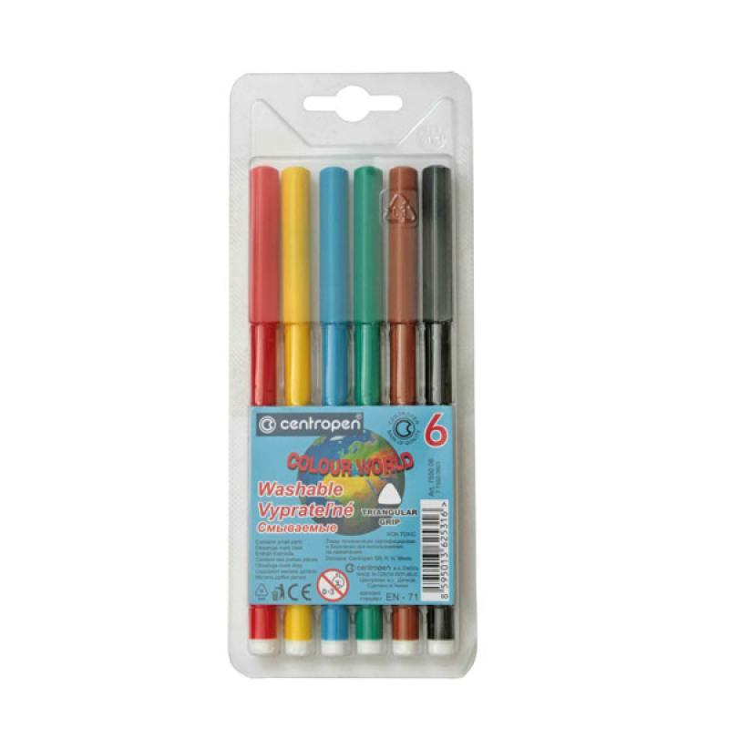 Набор фломастеров Centropen COLOUR WORLD 6 шт разноцветный 7550/06 TP 7550/06 TP набор свечей тигренок с подсолнухом 9х6 см 6 шт