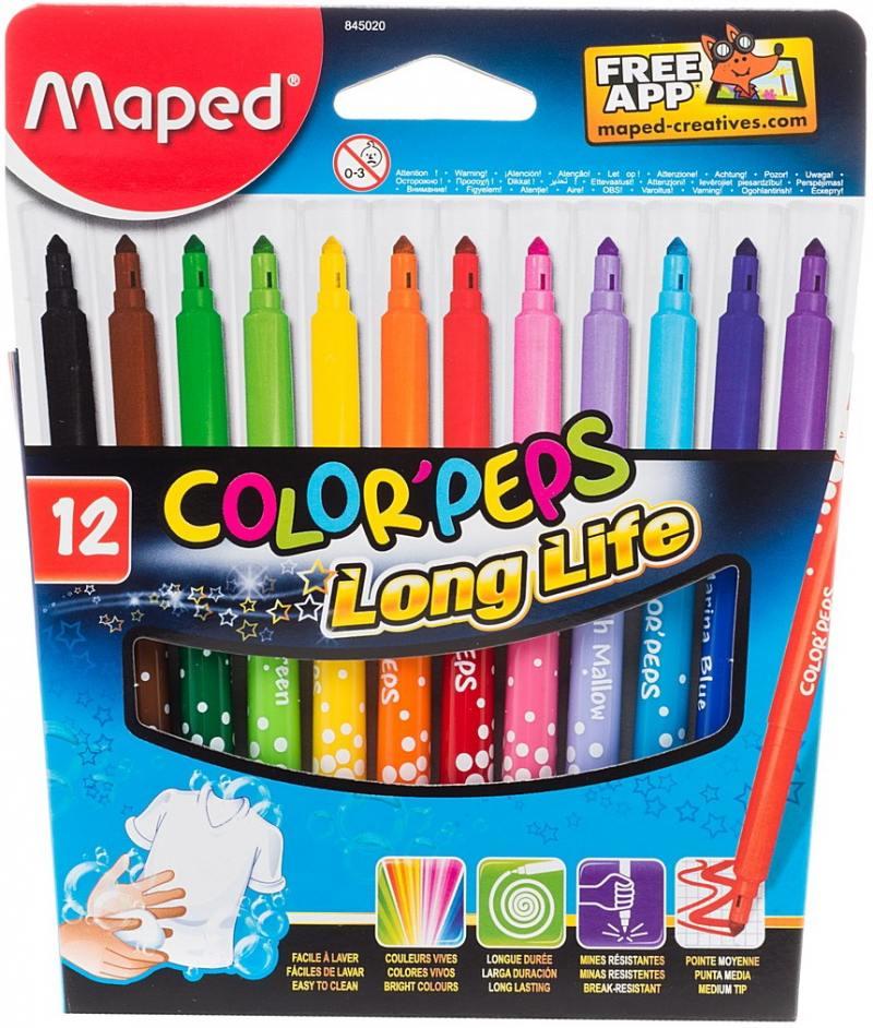 Набор фломастеров Maped COLOR PEPS 3.6 мм 12 шт разноцветный 845020 845020 цветные карандаши maped color peps в растягивающемся тубусе 12 цветов