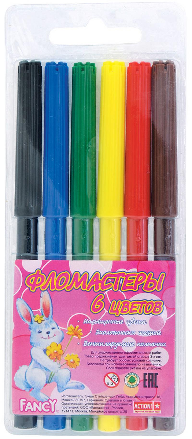 Набор фломастеров Action! Fancy 6 шт разноцветный FWP129-06 FWP129-06 набор фломастеров action fancy 2в1 20 шт разноцветный
