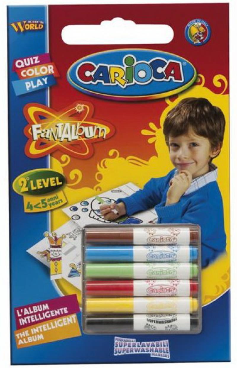 Набор фломастеров Universal CARIOCA FANTALBUM 6 шт разноцветный 41999 + 20 раскрасок 41999 набор свечей тигренок с подсолнухом 9х6 см 6 шт