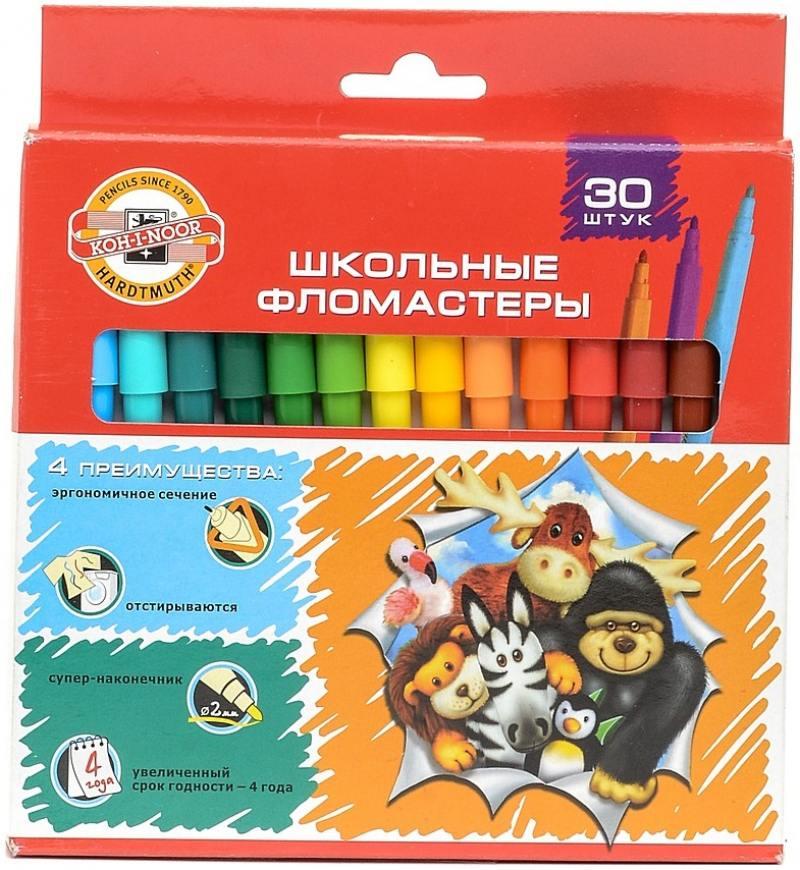 Набор фломастеров Koh-i-Noor Веселые животные 1 мм 30 шт разноцветный 1002/30 KS 1002/30 KS кр веселые животные вып 1 остров невидимок