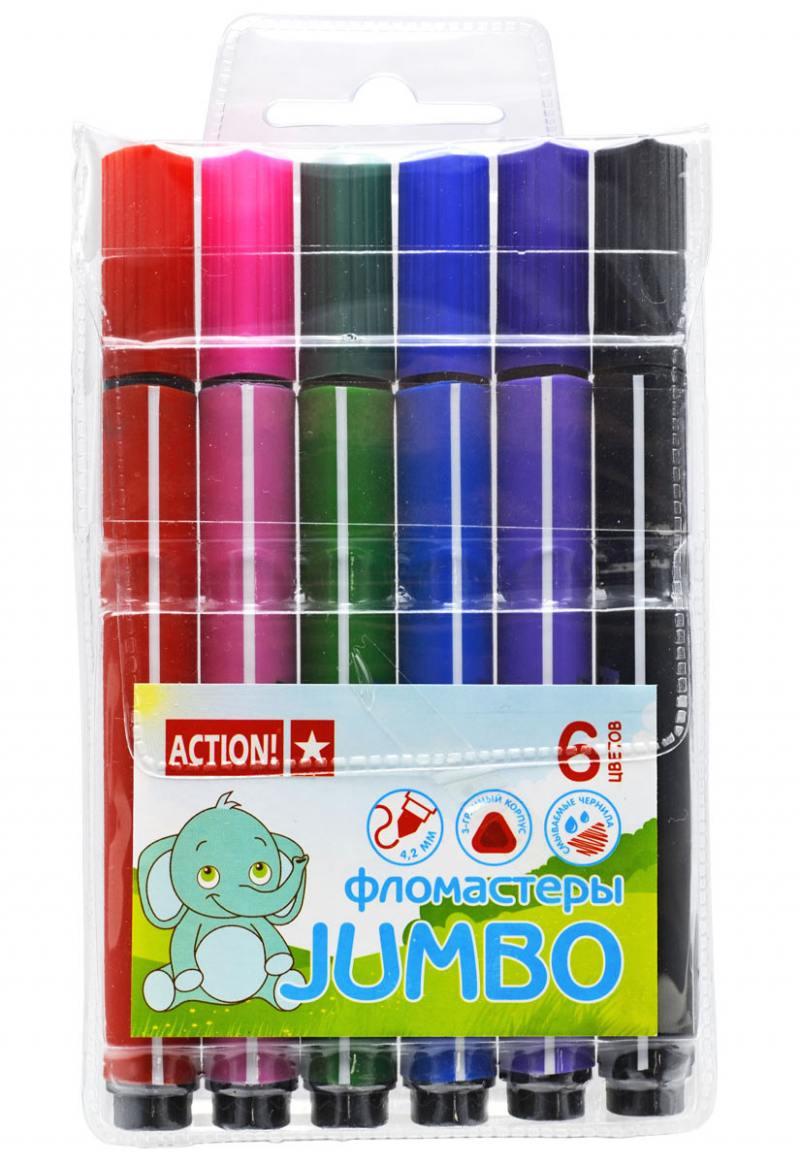 Набор фломастеров Action! AWP152-06 6 шт разноцветный AWP152-06 набор свечей тигренок с подсолнухом 9х6 см 6 шт