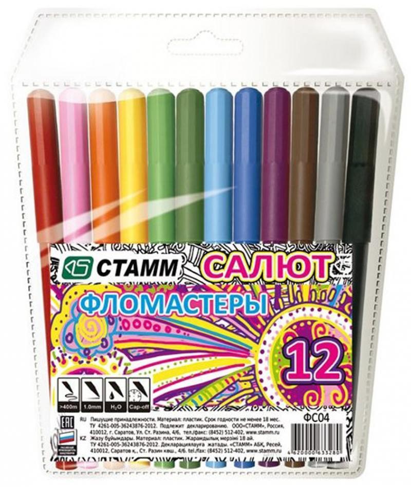 Набор фломастеров СТАММ САЛЮТ 12 шт разноцветный набор шариковых ручек стамм ро06 3 шт разноцветный 1 мм ро06
