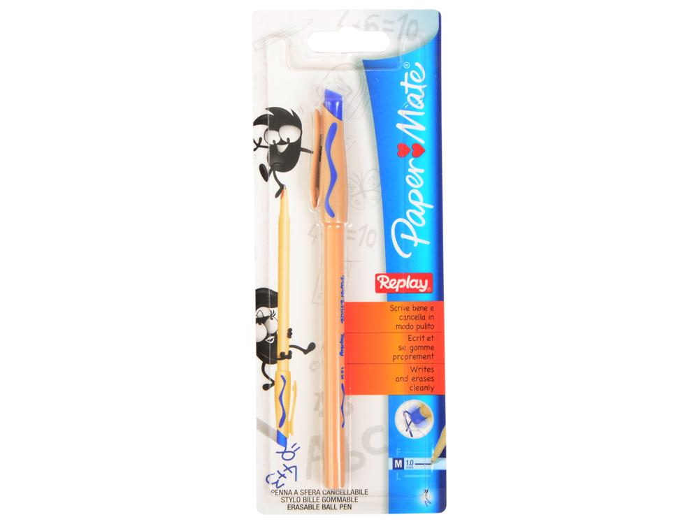 Ручка шариковая REPLAY со стираемыми чернилами, с ластиком, синяя, 1,0 мм, в блистере PM-S0300762 ручка шариковая paper mate reynolds 045 fin 0 5мм синяя 4шт в блистере