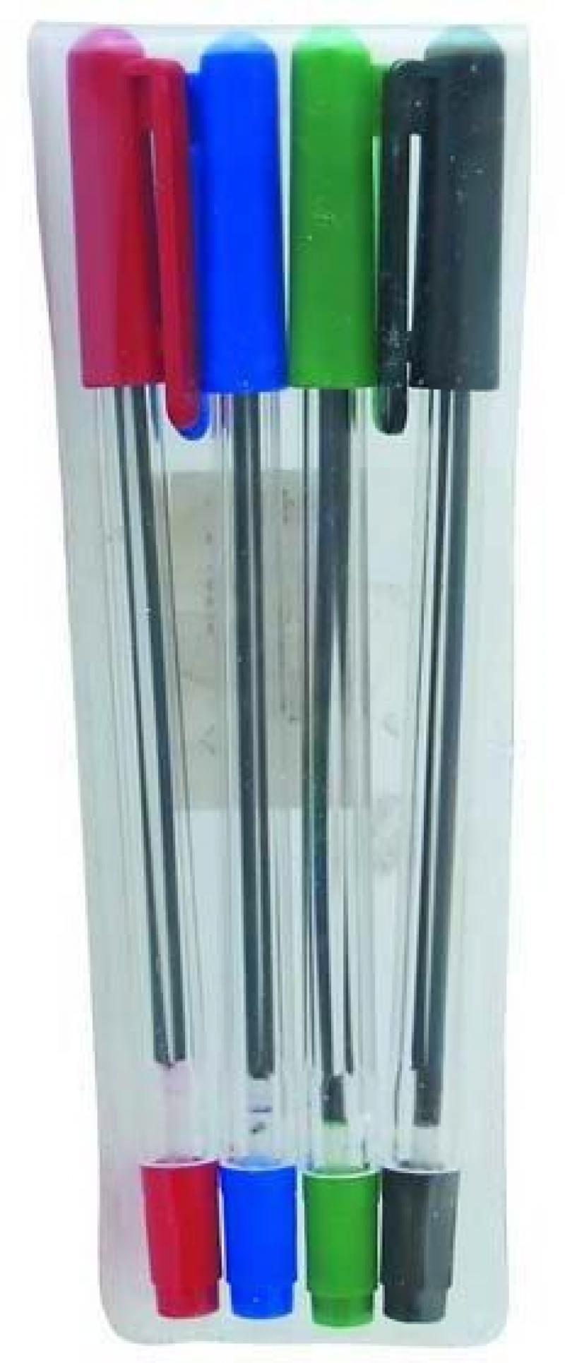 Набор шариковых ручек СТАММ РС07 4 шт разноцветный 1 мм РС07 набор шариковых ручек fiore 4 шт цвет синий