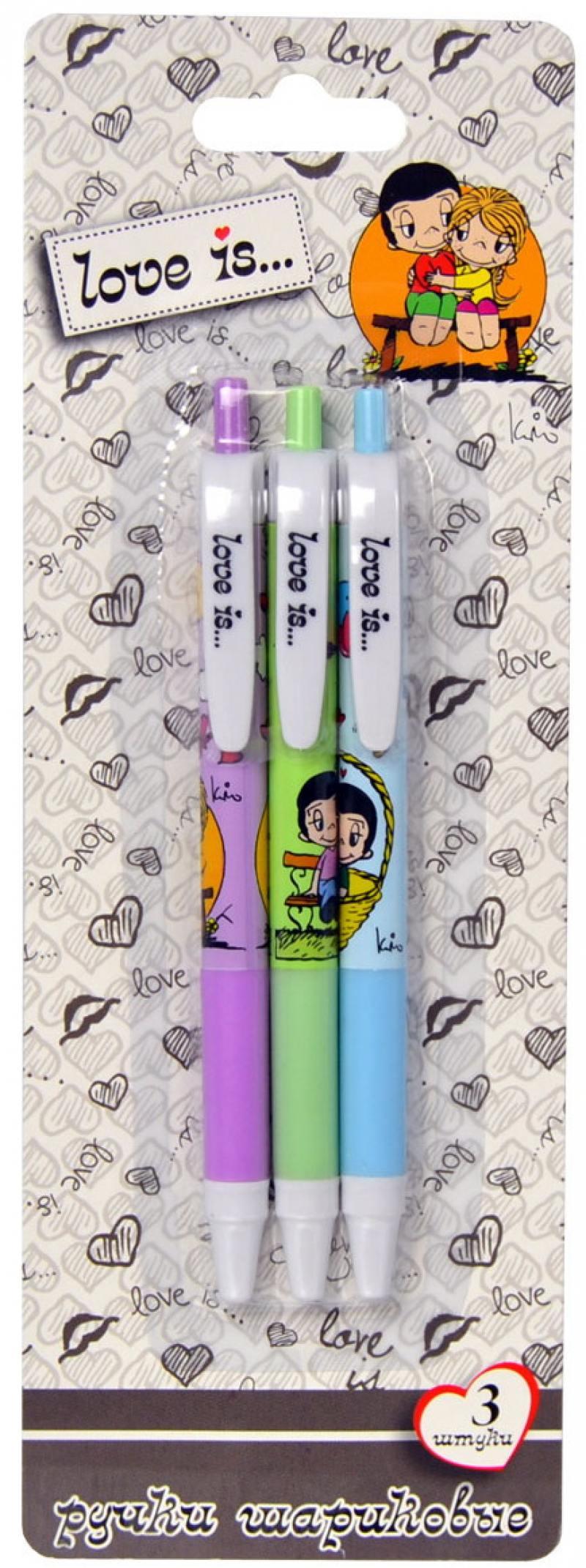 Набор шариковых ручек автоматическая Action! Love is 3 шт синий LI-ABP152/3 LI-ABP152/3 набор шариковых ручек стамм ро06 3 шт разноцветный 1 мм ро06